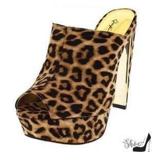 The Shoe Loft Shoes - Darcy Faux Silk Leopard Peep Toe Mules
